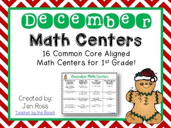 December Math Centers Menu {CCS Aligned} Grade 1