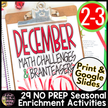 Christmas Math Challenges & Brainteasers-December Fast Fin