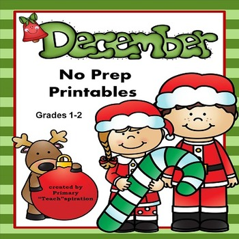 December Math and Literacy NO PREP Winter Printables for C