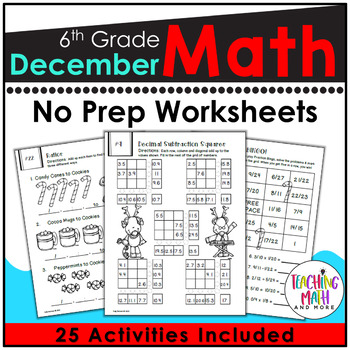 December NO PREP Math Packet - 6th Grade