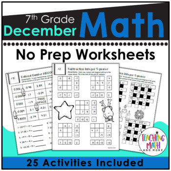 December NO PREP Math Packet - 7th Grade
