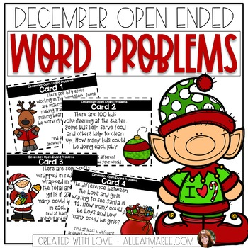 December Open-Ended Word Problems (2-Digit Addition & Subt