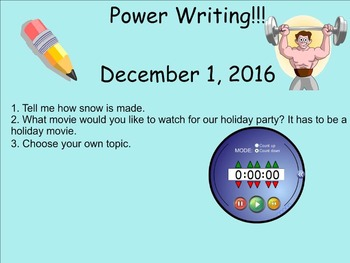 December Power Writing Prompts on SmartNotebook