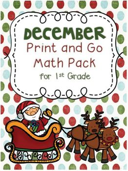 December Print and Go Math Pack for First Grade