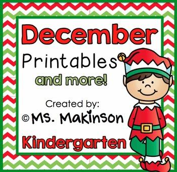 December Printables - Kindergarten Literacy and Math