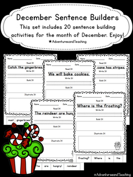 December Sentence Builders {morning work, word work, daily
