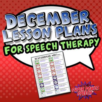 December Speech Lesson Plans (FREE)