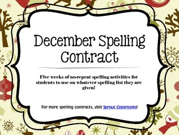 December Spelling Contracts-5 Weeks