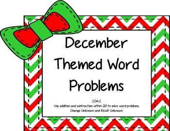 December Themed Word Problems 1.OA.A.1