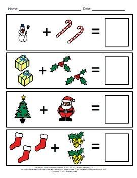 December Visual Addition Worksheets