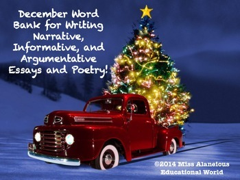 December Word Bank for Writing Essays and Poetry!
