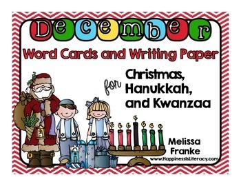 December Words & Writing Paper: Christmas Hanukkah Kwanzaa