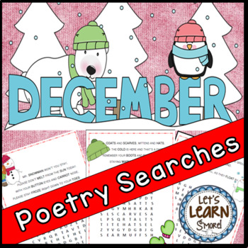 December Poetry, Word Searches, Winter Theme, With Origina