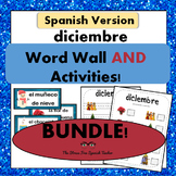 December Word Wall Cards AND activities! Spanish