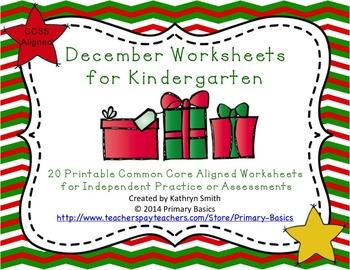 December Worksheets for Kindergarten