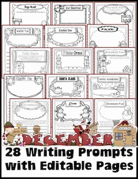 December Writing Prompts with Editable Pages for Journals,