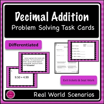 Decimal Addition Differentiated Word Problem Task Cards