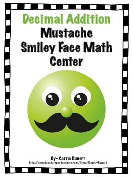 Decimal Addition and Comparing Mustache Smiley Face Math C