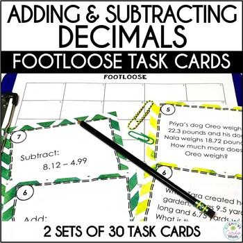 Decimal Addition & Subtraction Task Cards -Footloose Activ