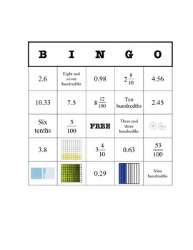 Decimal Bingo (picture, word form, standard form, and mixe