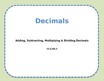 Decimal Calculation Review