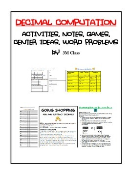 Decimal Computation Activities and Notes