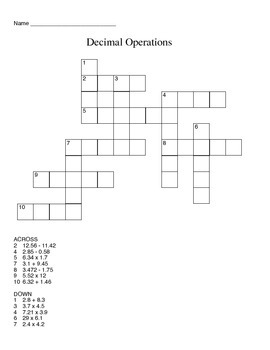 Decimal Cross-Word Puzzle