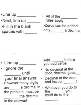 Decimal Foldable Notes