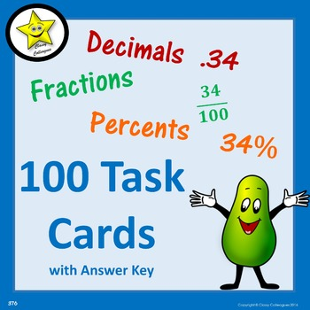 Decimal Fraction Percent Task Cards