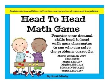 Decimal Math Center Game: Head to Head, Grades 3-6