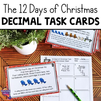 Decimal Math Task Cards All Operations - 12 Days of Christ