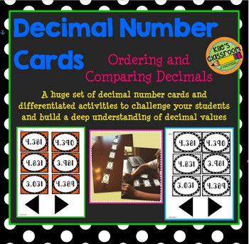 Decimal Number Cards - Ordering and Comparing Decimals
