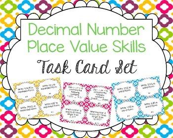Decimal Place Value Skills Task Card Set