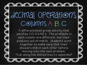 6th Grade Math Decimal Operations Differentiated Group Work
