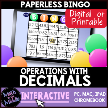 Decimal Operations Interactive Bingo Review Game