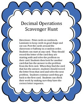 Decimal Operations Scavenger Hunt