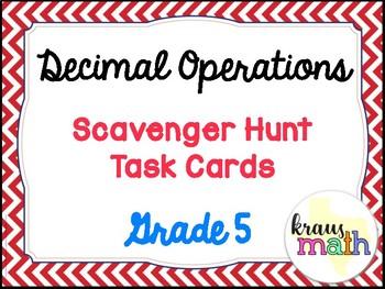 Decimal Operations Scavenger Hunt Cards