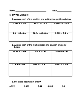 Decimal Operations and Ordering Practice