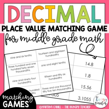 Decimal Place Value Math Center: Word Form Standard Form E