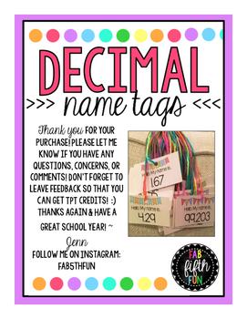 Decimal Place Value Name Tags