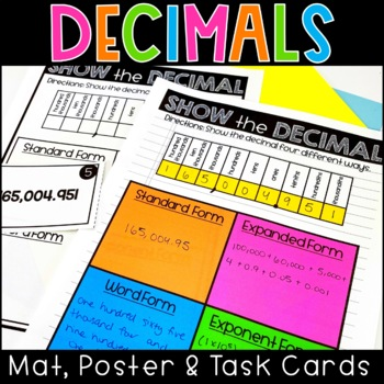 Decimal Place Value Poster, Work Mat and Task Cards Math C