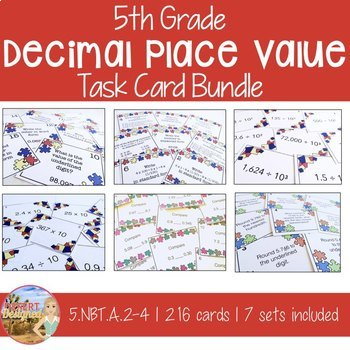 Decimal Place Value Task Card Bundle Common Core