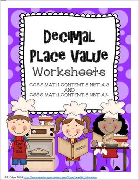Decimal Place Value Worksheets--Fifth Grade