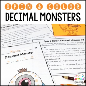 Decimal Place Value and Rounding Spin & Color Activity