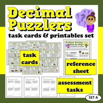 Decimal Puzzlers +/– with decimals word problems task card