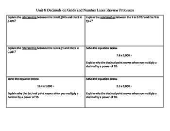 Decimal Review Problem Cut-Outs