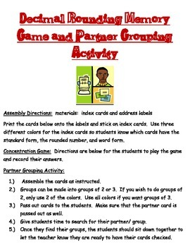 Decimal Rounding Memory Game and Partner Grouping Activity