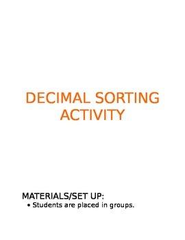 Decimal Sort Group Activity - Word, fraction and decimal form