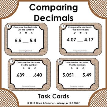 Decimal Task Cards • Comparing Decimals