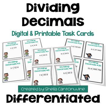 Dividing Decimals Task Cards (3 Levels)
